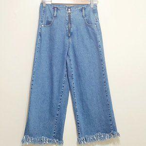 Zara High Rise Wide Leg Cropped Denim Jeans Size 2